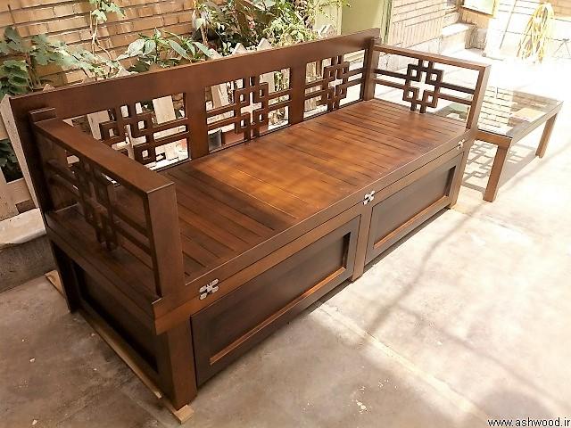تخت دو منظوره چوب راش , تخت سنتی