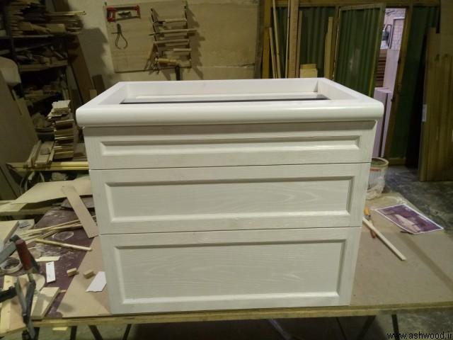 کابینت چوبی سه کشو سبک کلاسیک با رنگ سفید وایت واش