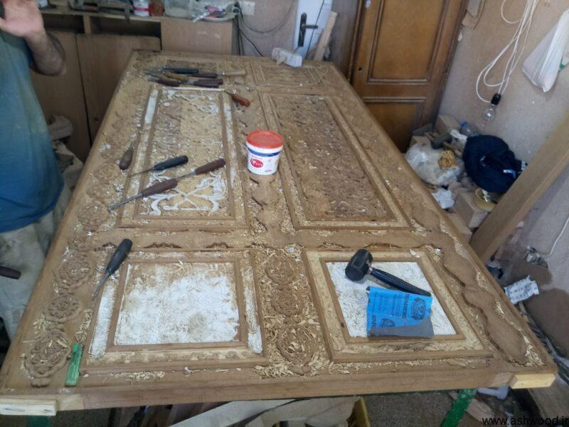 درب منبت چوب ساج , منبت کاری سفارشی , درب چوبی سبک شرقی