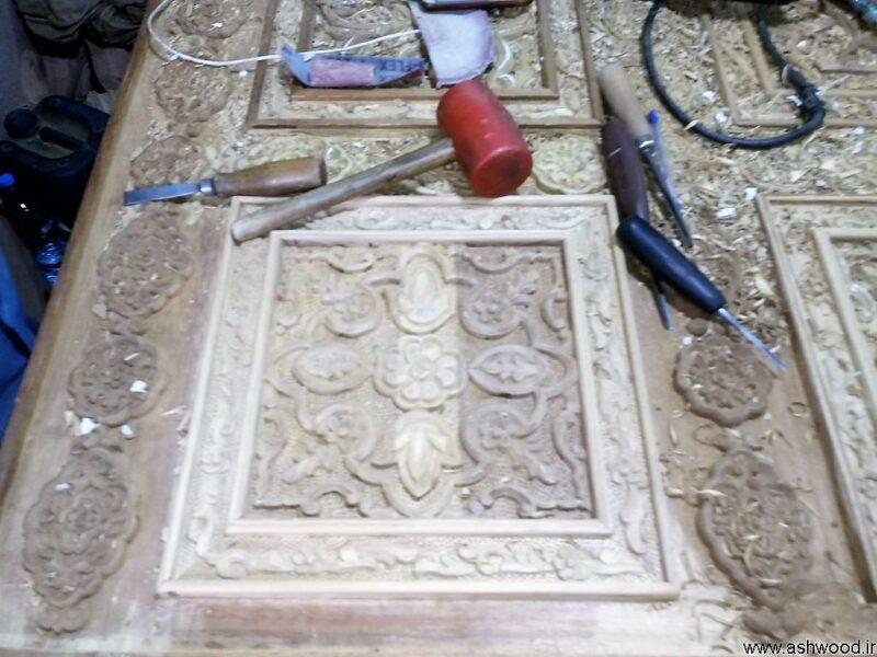 بهترین تصاویر درب تمام چوب ساج با منبت چوب سفارشی و دست ساز