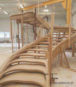 پله چوبی گرد , پله چوبی دوبلکس , پله گرد چوبی