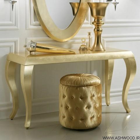 میز کنسول و آینه طلایی