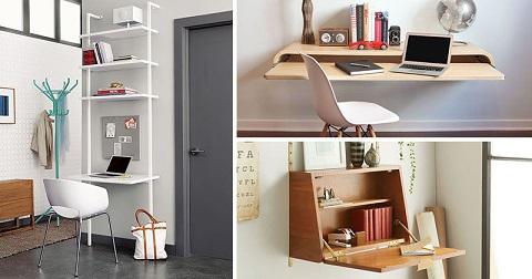 21 ایده میز تحریر مناسب برای فضاهای کوچک , دکوراسیون چوبی منزل