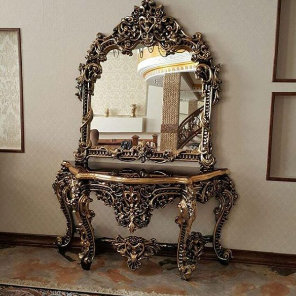 میز کنسول کلاسیک طلایی
