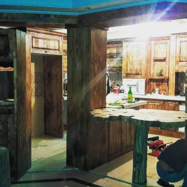 دکوراسیون کابینت تمام چوب ، کابینت روستیک , تلفیق کلاسیک و مدرن سنتی