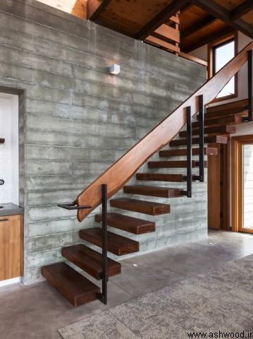 راه پله مدرن , پله چوبی , نرده چوبی , راه پله دوبلکس , راه پله سبک معاصر
