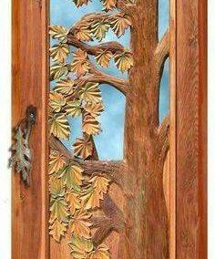درب چوبی منبت