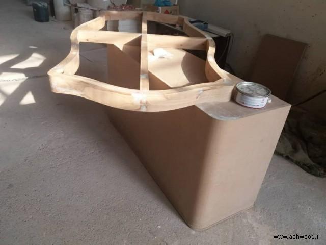 میز چوبی سفارشی رنگ پولیشی مشکی طلایی