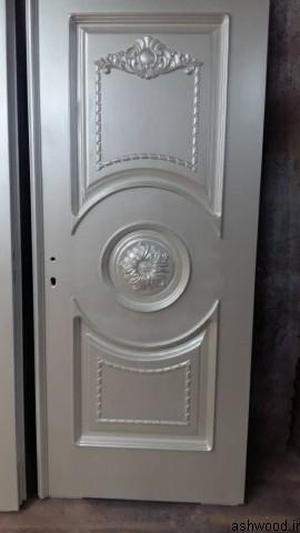 درب تمام چوب راش رنگ پلی استر , درب لابی و ورودی