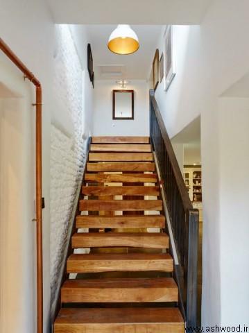 راه پله مدرن , پله چوبی , نرده چوبی , راه پله دوبلکس , راه پله مدرن