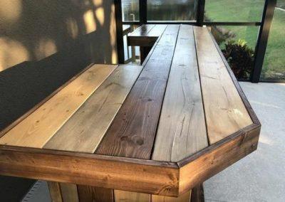میز بار , میز L چوب روستیک , میز دست ساز ساخته شده از تخته چوب کاج
