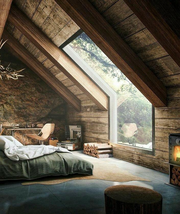 ایده سقف زیر شیروانی با لمبه و تیر چوبی