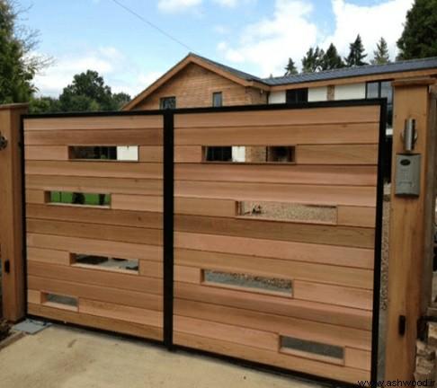 درب پارکینگ چوبی ,  مدل درب پارکینگ چوبی  , دروازه چوبی