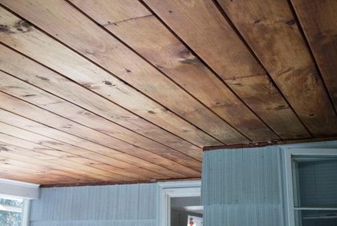 سقف کاذب چوبی تخته ای