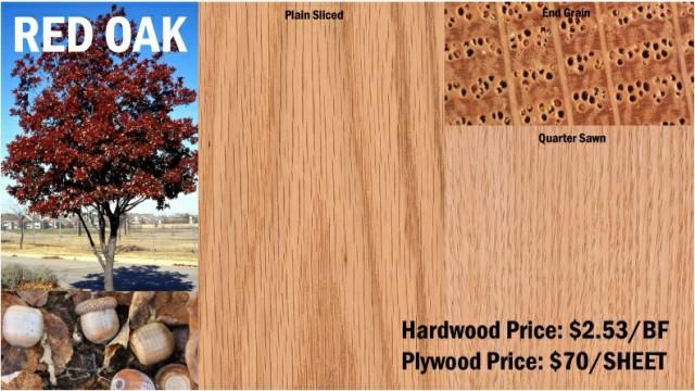 چوب بلوط قرمز , انواع چوب