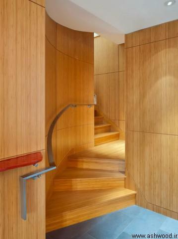 ساخت و نصب انواع پله , کف پله چوبی , نرده چوبی