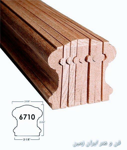 هندریل چوبی از لایه های نازک چوب برای اجرای خم بر روی دست انداز پله