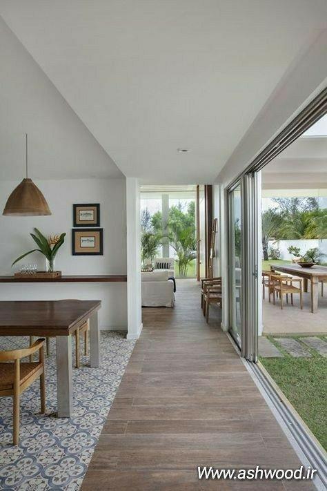 استفاده از میز های تمام چوب با پایه و صفحه ضخیم در دکوراسیون بیرونی و فضای سبز