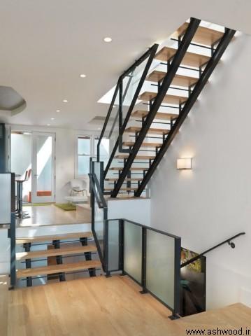 پله چوبی داخل ساختمان,ایده های ساخت پله چوبی,پله چوبی مدرن,پله با نورپردازی