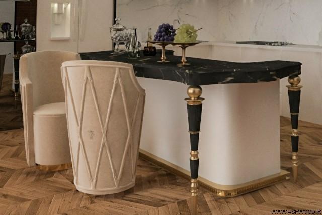 ساخت میز چوبی لوکس رنگ مشکی طلایی, کابینت سفارشی ساز کلاسیک