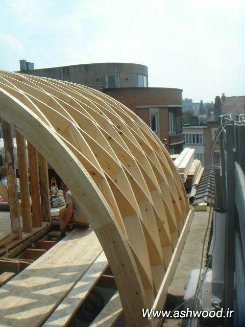 سقف پیشرفته و بروز کلبه و سازه های چوبی بزرگ سقف خانه چوبی، سقف پرگولا و آلاچیق چوبی، براکت