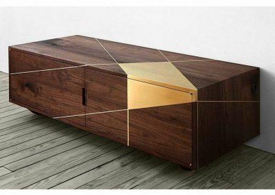 میز کنسول , کمد , میز تلویزیون طلایی و گردویی , رنگ چوب طبیعی چوب گردو