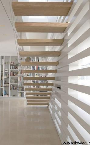 ایده های طراحی و ساخت پله چوبی , ساخت پلکان چوبی , کف پله چوب