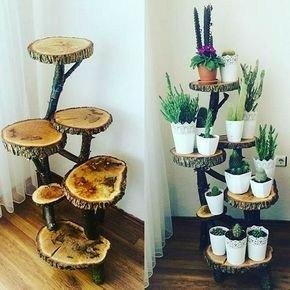 جای گلدان ساخته شده از تنه درخت