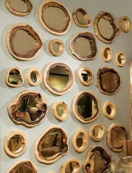 قاب آینه  ساخته شده از تنه درخت