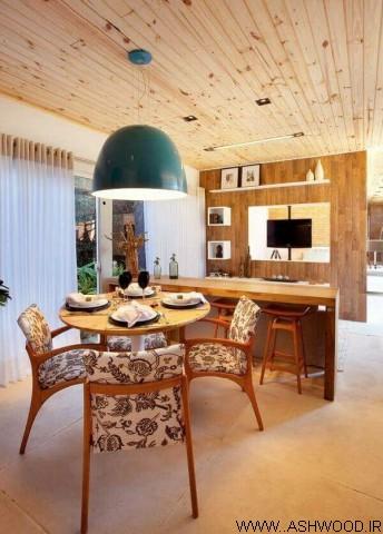 دیوارکوب و سقف کاذب چوب : پوشش سقف و دیوار چوبی