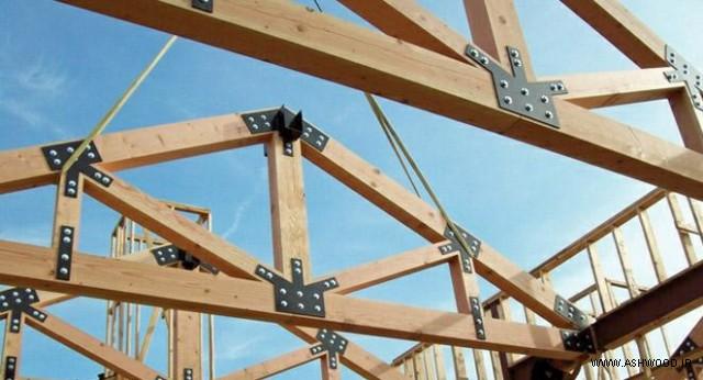 همه چیز درباره چوب روسی - نمایی از خرپای چوبی با چوب روسی در معماری
