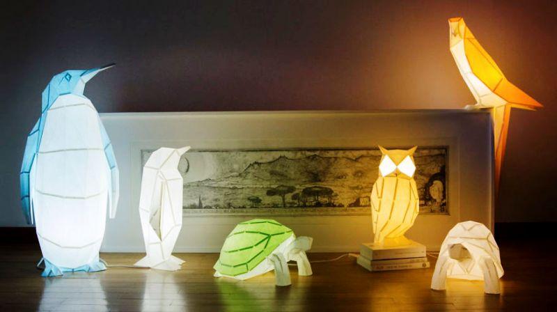 لامپ های اوریگامی که با الهام از حیوانات ساخته شده اند