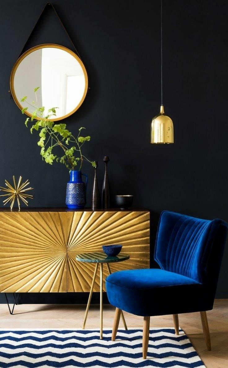 دکوراسیون پذیرایی، میز کنسول چوبی، بوفه ویترین ورق طلا
