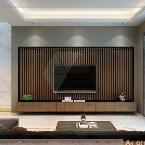 دکوراسیون تلویزیون دیواری , دکور پشت تلویزیون با چوب