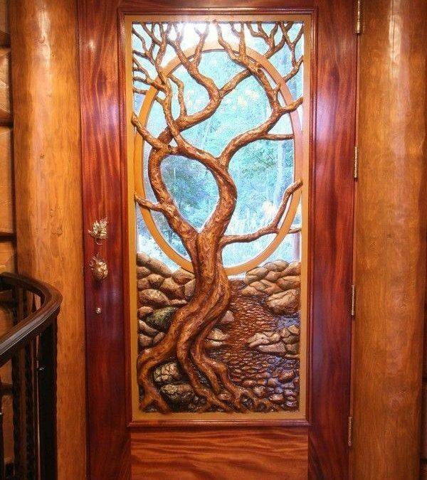 ایده های جالب منبت کاری روی چوب , درهای منبت کاری شده طرح درخت
