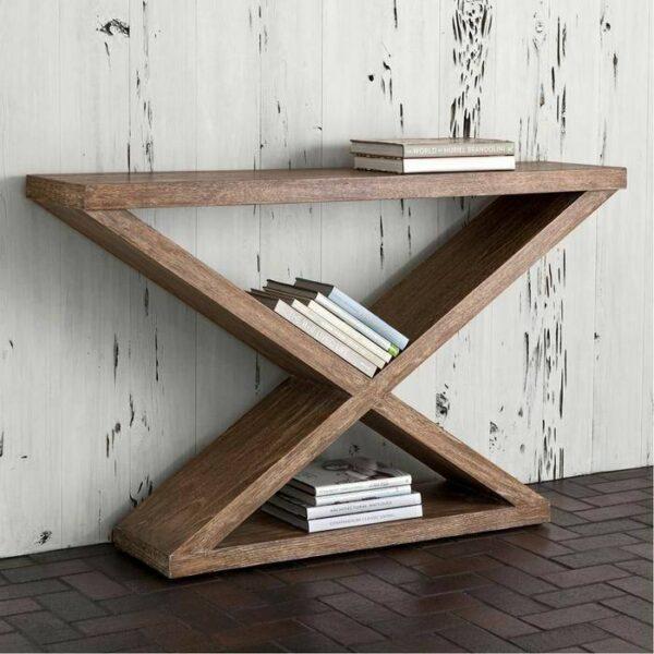میز کنسول چوبی زیبا در دکوراسیون چوبی منزل