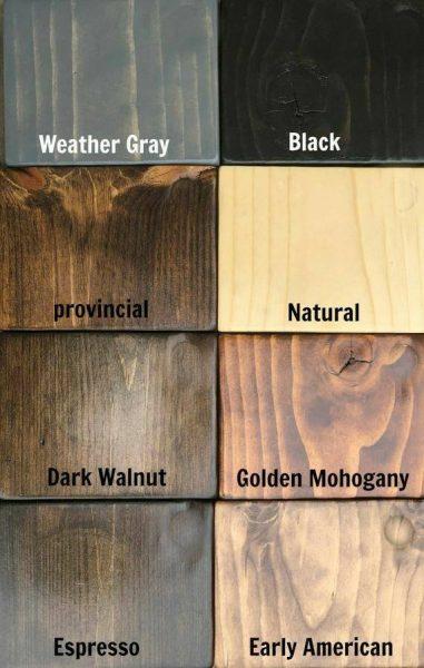 نمونه رنگ های چوب کاج که بوسیله جوهر شاپان اجرا شده است