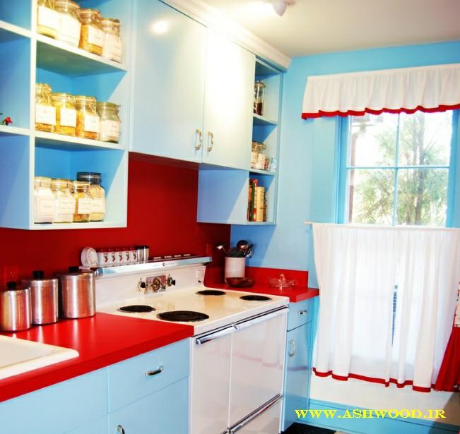 Teal And Red Yellow Orange Kitchen: رنگ آبی فیروزه ای در ترند های 2018 دکوراسیون آشپزخانه