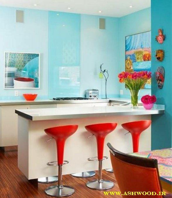 رنگ آبی فیروزه ای در ترند های 2018 دکوراسیون آشپزخانه