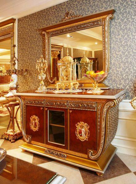 میز کنسول , بوفه و ویترین لوکس فرانسه باروک سبک طلایی