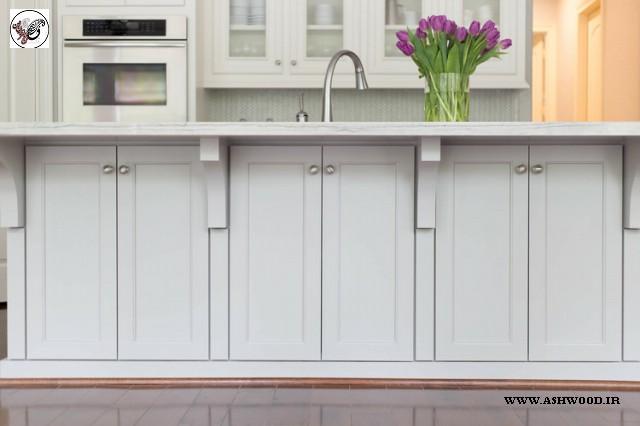 مدل کابینت چوبی آشپزخانه مدرن , کابینت طرح چوب سفید