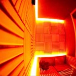 سونای خشک با طراحی و نور پردازی بسیار زیبا . دکوراسیون سونای خشک