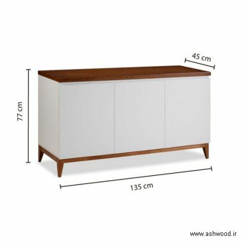 میز کنسول چوبی با درب های سفید