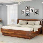 تخت خواب و دراور چوب طبیعی