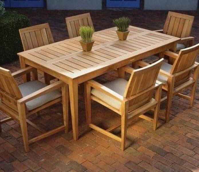 میز و نیمکت چوبی , دکوراسیون فضای باز