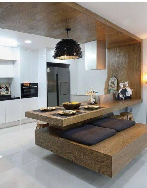 اوپن آشپزخانه بسیار جالب و هوشمندانه , دکوراسیون آشپزخانه چوب