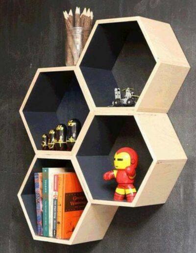 شلف چوبی شش ضلعی