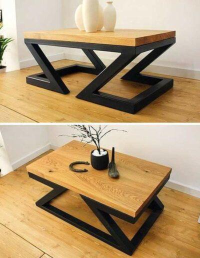 میز قهوه خوری با پایه ای به شکل دو z