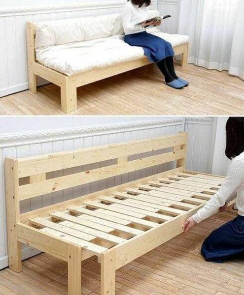 تخت خواب و نیمکت , تخت دو منظوره چوب کاج