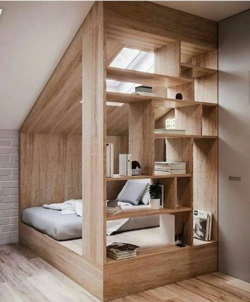 دکوراسیون اتاق خواب , تخت خواب چوب و ام دی اف با کتابخانه و سقف چوبی